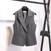 外套/背心  明星同款灰色馬夾職業OL西裝短款馬甲女春秋外套