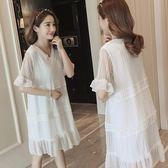 米蘭 孕婦裝夏裝裙子2019時尚新款中長款上衣仙女超仙短袖孕婦洋裝潮