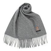 MOSCHINO 義大利製羊毛小熊圖騰字母LOGO刺繡圍巾(淺灰色)911001-014