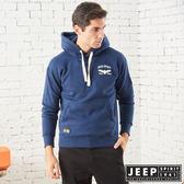 【JEEP】簡約圖騰刺繡連帽TEE-男女適穿-深藍