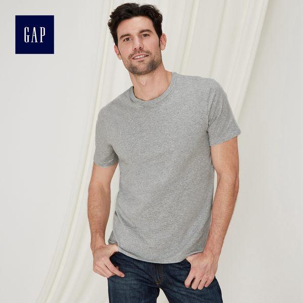 Gap男裝 舒適圓領彈力短袖T恤 440670-麻灰色