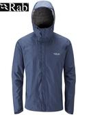 【速捷戶外】英國 RAB QWF-61 Downpour Jacket 男高透氣連帽防水外套(幕藍),登山雨衣,防水外套