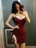 網紅直播夜店夜場裝蕾絲邊性感低胸露背吊帶連衣裙緊身包臀開叉短裙女