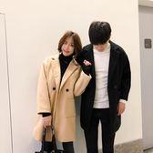 毛呢外套秋冬季風衣男士中長版大衣寬鬆情侶外套 新主流
