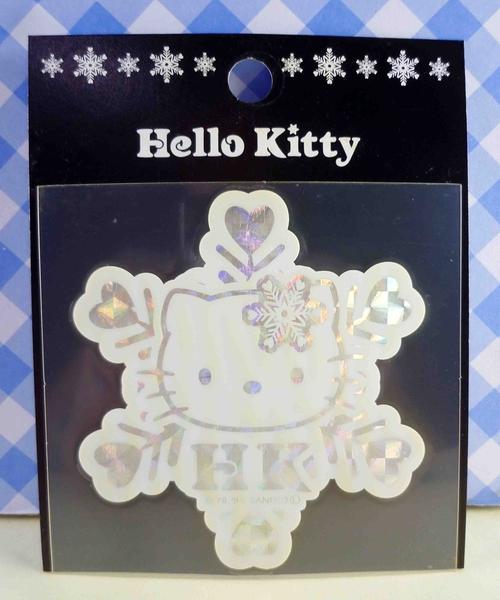 【震撼精品百貨】Hello Kitty 凱蒂貓~KITTY貼紙-閃光貼紙-白雪花(小)