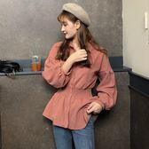 襯衣上衣女裝秋裝韓版百搭收腰顯瘦純色百搭燈籠袖襯衫學生潮