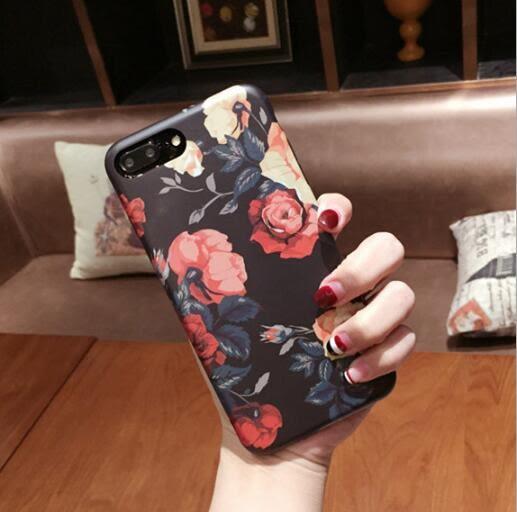 復古 玫瑰花 磨砂殼 蘋果 手機殼 iPhone7 iPhone6 plus i6s i7 全包 tpu 保護殼 保護套