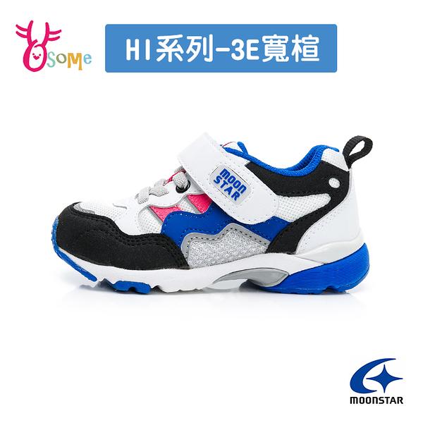Moonstar月星童鞋 男童機能鞋 HI系列 3E寬楦 十大機能 矯正 足弓鞋墊 跑步鞋 運動鞋 K9666#白藍