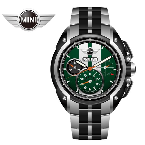 【萬年鐘錶】MINI Swiss Watches英國風格 綠面白條三眼外圈數字日期 銀黑雙色鋼鍊帶錶   45mm MINI-03S