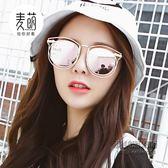 韓版個性墨鏡太陽鏡圓臉女潮時尚箭頭金屬潮流街拍百搭款