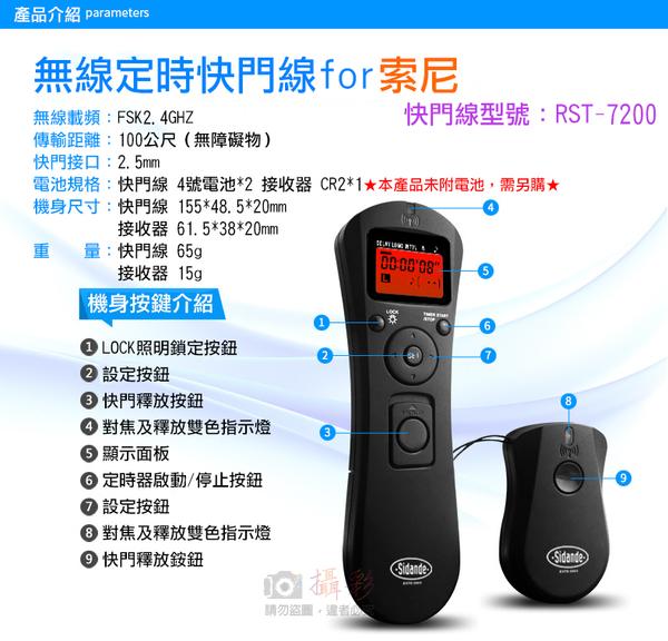 攝彩@索尼無線定時快門線 Sony 斯丹德 RST-7200S S1 S2 RM-S1AM RM-VPR1 2.5mm