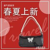 手提包 包包女2021新款潮流pu女包 蝴蝶水鉆珍珠包 鏈條手提單肩包腋下包 16【快速出貨】