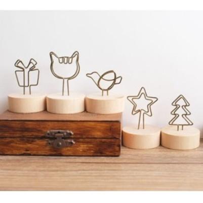 【BlueCat】日式Wood memo天然木鐵藝可愛造型圓底便條夾 照片備忘夾 名片夾