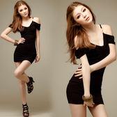 洋裝 深V領吊帶露肩性感夜店裝黑色修身包臀連身裙 巴黎春天