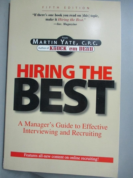 【書寶二手書T1/大學商學_XHA】Hiring the Best: A Manager s Guide to...