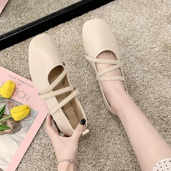 瑪麗珍鞋單鞋女夏平底仙女2020新款網紅百搭淺口軟底軟皮復古瑪麗珍奶奶鞋 JUST M