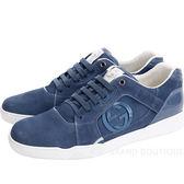 GUCCI 藍色雙G飾麂皮綁帶休閒鞋 1320161-23