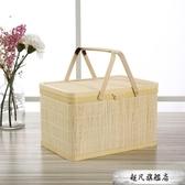 竹籃子雞蛋盒手提籃竹框大閘蟹禮盒中秋月餅禮盒包裝年貨禮包竹編-全館免運