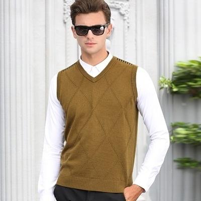 羊毛背心-時尚休閒V領打底衫無袖男針織衫3色73ig19【時尚巴黎】