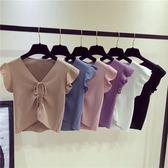 春季上新 夏季新款時尚韓版小清新洋氣木耳袖抽繩短款修身百搭上衣針織衫潮