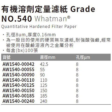 《Whatman®》有機溶劑定量濾紙 Grade NO.540 Quantitative Hardened Filter Paper