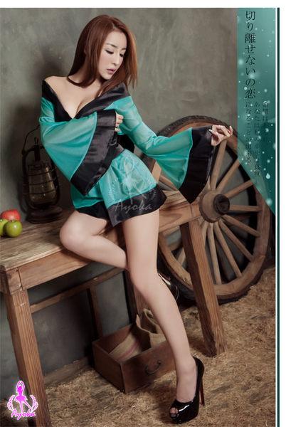 【愛愛雲端】摩登綠 三件式和服 角色扮演服 R8NA140300471