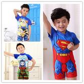 卡通兒童泳衣 可愛男童連體套裝超人寶寶童裝中小童男孩泳裝免運【全館免運】