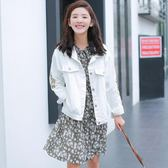 618大促韓版寬鬆百搭刺繡牛仔外套女bf風學生原宿白色淺色短款2018新款