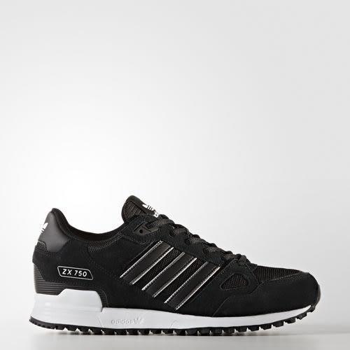 *ADIDAS ORIGINALS ZX 750 男鞋 慢跑 中底 輕量 網布 透氣 黑 BY9274