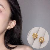 日系18K包金鑽石幾何簍空耳環 耳針 NFXX0784