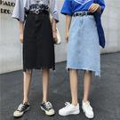 VK精品服飾 韓國風不規則A字高腰牛仔及膝中單品長裙