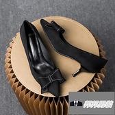 工作鞋中跟粗跟法式高跟鞋鞋子女單鞋蝴蝶結尖頭【邦邦男裝】