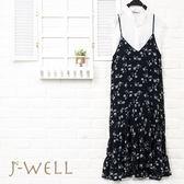 棉蕾絲無袖上衣細肩帶花洋裝二件組(組合833 8J1237白F+8J1450深藍F)
