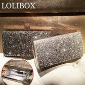 LOLIBOX定制水鑽閃亮手拿包晚宴包歐美高檔宴會方盒斜跨小女包【韓國時尚週】