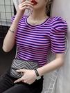 條紋短袖T恤女短款潮夏季2020新款韓版寬鬆百搭圓領泡泡袖上衣潮 交換禮物