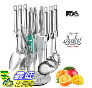 [8美國直購] 刀具套裝 Kitchen Gadgets Utensil Knives Set 13 Piece Stainless Steel Block  Spatula, Serving Spoon