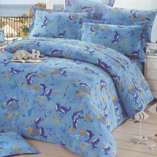 【小葉子-24 hours】台灣製-單人加大(3.5x6.2呎)-混紡棉三件式薄被套床包組- 海豚之戀(藍色)