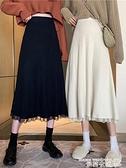 熱賣針織半身裙 白色針織半身裙女秋冬2021年新款高腰蕾絲中長款裙子包臀a字傘裙 曼慕