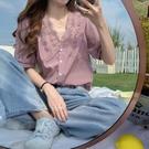 2021年夏季新款法式設計感小眾V領襯衣蕾絲花邊雪紡短袖襯衫女士 露露日記