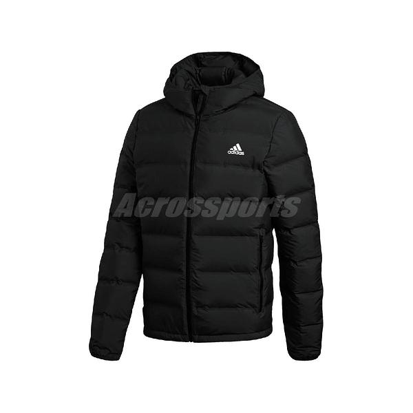 adidas 外套 Helionic Hooded Down Jacket 黑 白 男款 羽絨 連帽 運動休閒 【PUMP306】 BQ2001