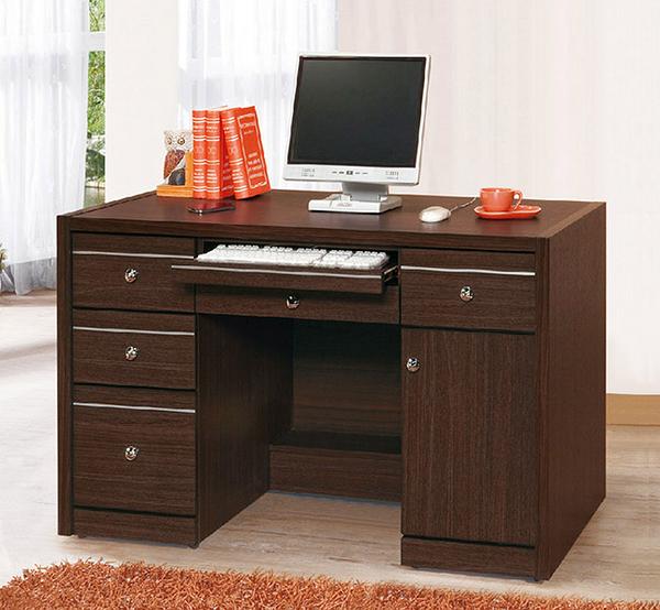 [ 家事達]台灣OA--425-1 智庫胡桃4.2尺電腦桌 特價---已組裝限送中部