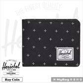 Herschel 皮夾 黑色網格 可放零錢款短夾 Roy PL-1577 MyBag得意時袋