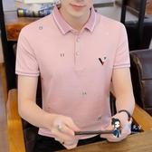 polo衫 男士有帶領短袖t恤夏季韓版修身襯衫領半袖體恤潮流polo衫上衣服 3色