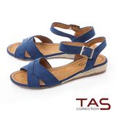 TAS進口布面交叉草編底台涼鞋-深海藍