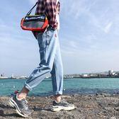 2019男士簡單款淺色九分牛仔褲韓版水洗小腳長褲薄款ins潮流褲子