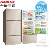 【佳麗寶】-(台灣三洋SANLUX)580公升直流變頻三門玻璃鏡面冰箱 / SR-C580CVG
