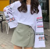 2019日系原宿風春裝新款韓范chic寬鬆顯瘦袖子印花長袖T恤女上衣 科炫數位