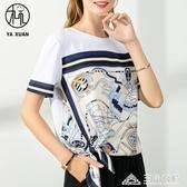 新款白色大碼純棉短袖t恤女寬鬆中年媽媽夏裝雪紡衫上衣洋氣 三角衣櫃