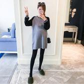 孕婦裝 孕婦秋裝好康推薦新款孕婦毛衣中長款時尚拼色寬鬆針織衫上衣秋冬潮媽