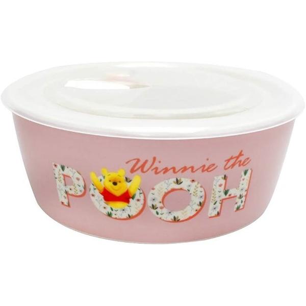 小禮堂 迪士尼 小熊維尼 陶瓷保鮮碗 附蓋 560ml (粉花草款) 4939560-52559